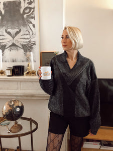 PULL GRIS & CUIR « BLACK COFFEE » ☕️