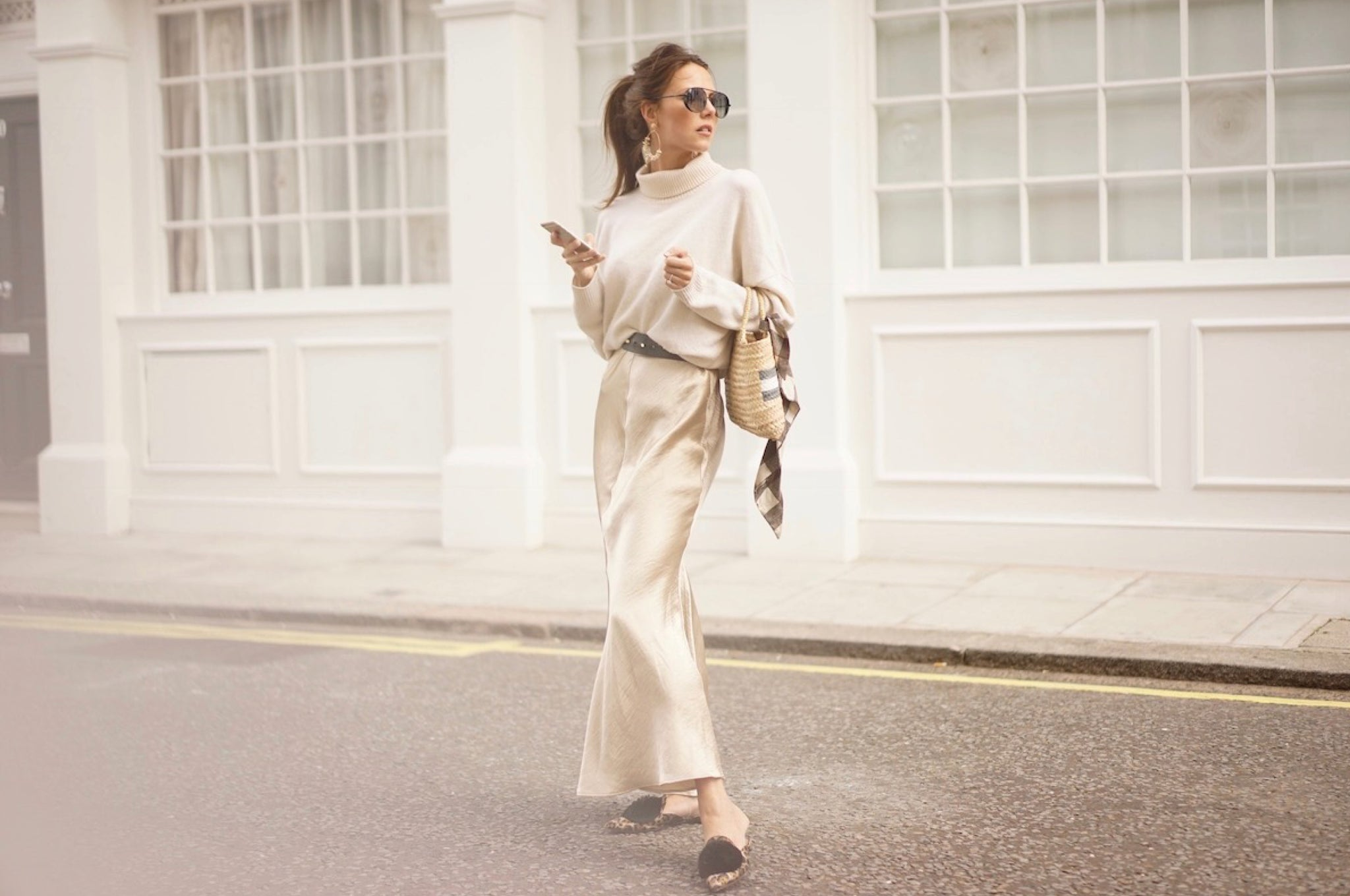 Stephanie Waxberg Dressed in a Beautiful Silk-Knit Combo