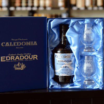 Edradour 'Caledonia' 12 years old 46% with 2 Glencairn glasses