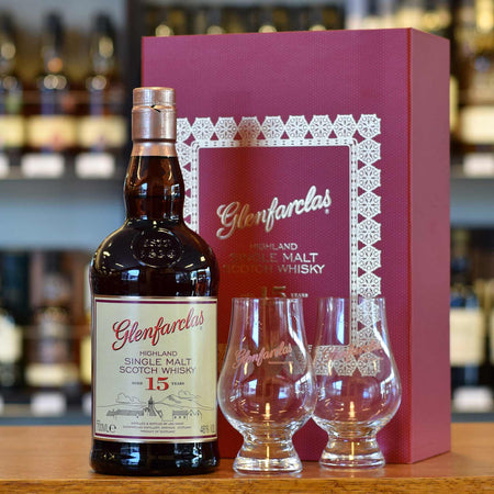 Glenfarclas 15 years old gift pack with glasses 46%