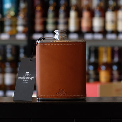 8oz Tan Coloured Whisky Hip Flask