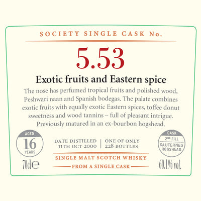 SMWS 5.53 'Exotic fruits & Eastern spice' 2000 / 16 years old 60.1%