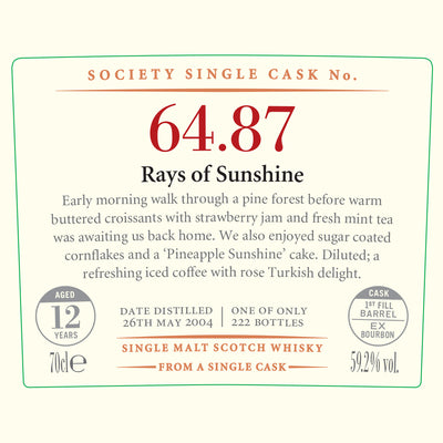 SMWS 64.87 'Rays of sunshire' 2004 / 12 years old 59.2%