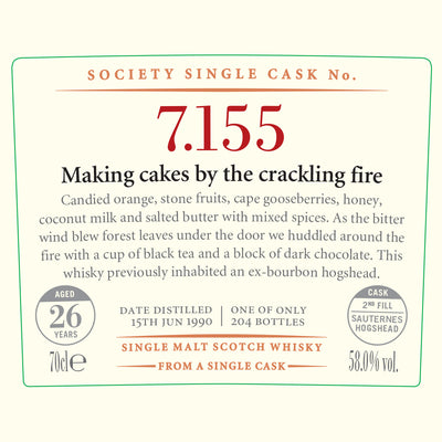 SMWS 7.155 'Making cakes by the crackling fire' 1990 / 26 years old 58%
