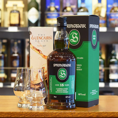 Springbank 15 years old & two Glencairn Whisky Glasses
