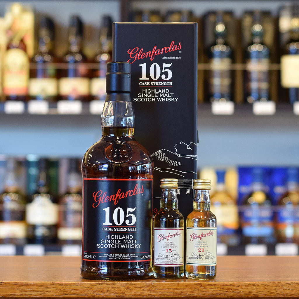 Glenfarclas 105 Gift Pack with 15 and 21 year old minis 60%