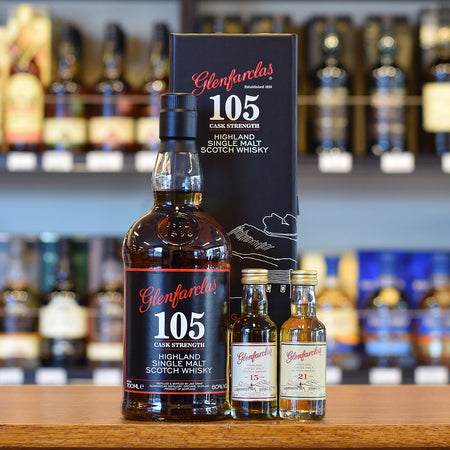 Glenfarclas 105 Gift Pack with 15 and 21 year old 50ml 60%