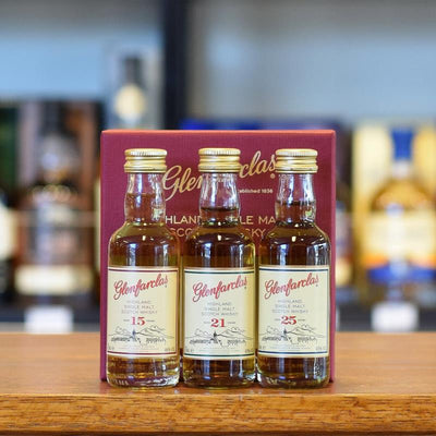 Glenfarclas Mini Tri-Pack 15, 21, 25 years old 43% and 46%