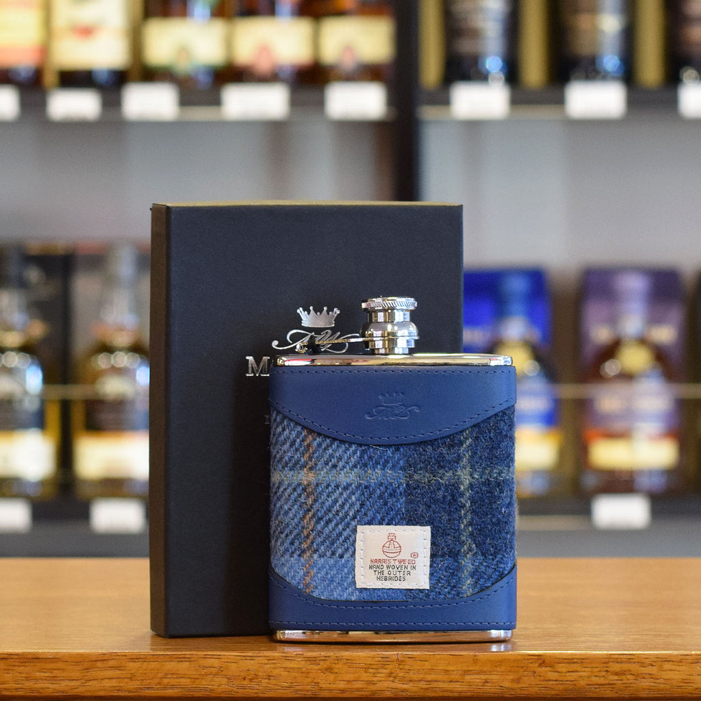 MW1106HARRIS 6oz Harris Tweed and Blue Leather Hip Flask