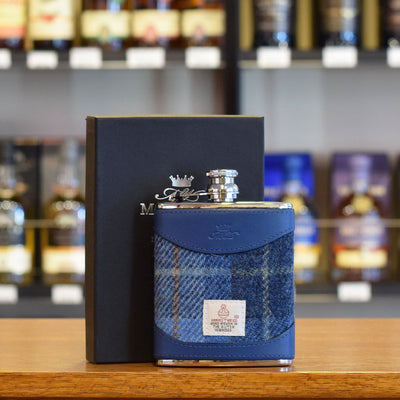 6oz Harris Tweed and Blue Leather Hip Flask MW1106HARRIS