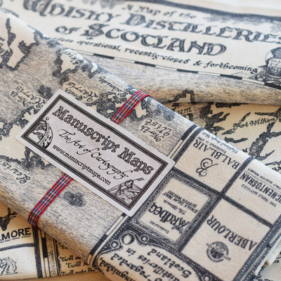 Manuscript Whisky Map Tea Towel