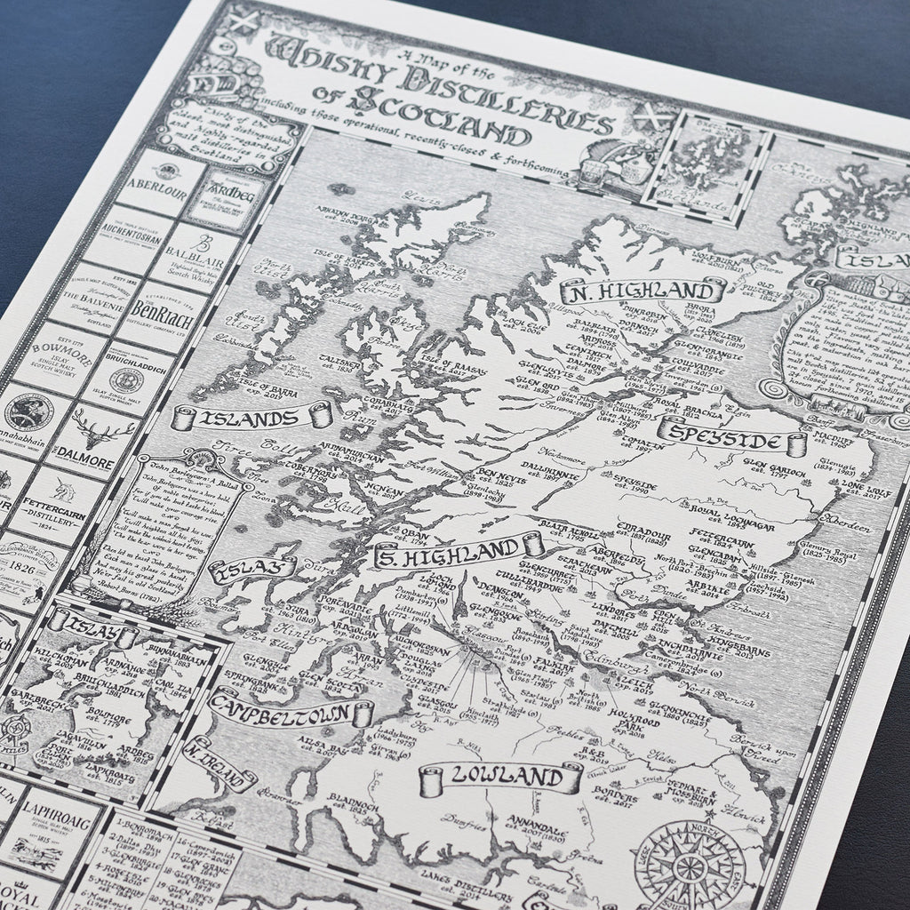 Manuscript Whisky Map Limited Edition Print