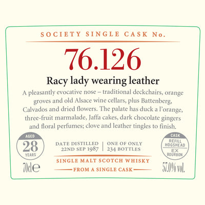 SMWS 76.126 'Racy lady wearing leather' 1987 / 28 years old 57%