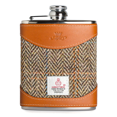 6oz Harris Tweed & Tan Coloured Whisky Hip Flask
