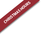A red ribbon with the words Christmas hours