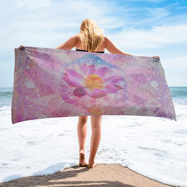 Lotus Graphic Beach Towel-Home Goods-AnAuthenticPiece