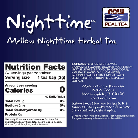 NOW Foods Nighttime Tea - Herbal Tea, - GymSupplements.co.uk