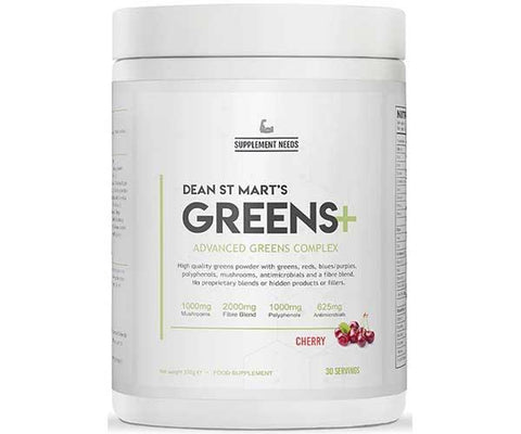 Supplement Needs Greens+ 30 Servings - Cherry Flavour - GymSupplements.co.uk