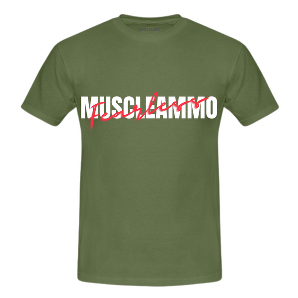 MuscleAmmo 'Fearless' Print Muscle Fit T-Shirt - Military Green - GymSupplements.co.uk