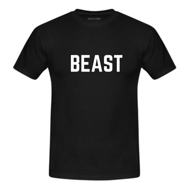 MuscleAmmo 'BEAST' Print Muscle Fit T-Shirt - Black - GymSupplements.co.uk