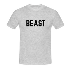 MuscleAmmo 'BEAST' Print Muscle Fit T-Shirt - Grey - GymSupplements.co.uk