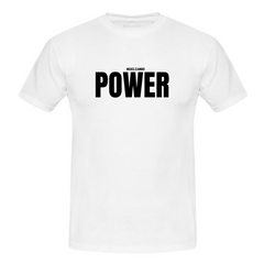 MuscleAmmo 'POWER' Print Muscle Fit T-Shirt - White - GymSupplements.co.uk
