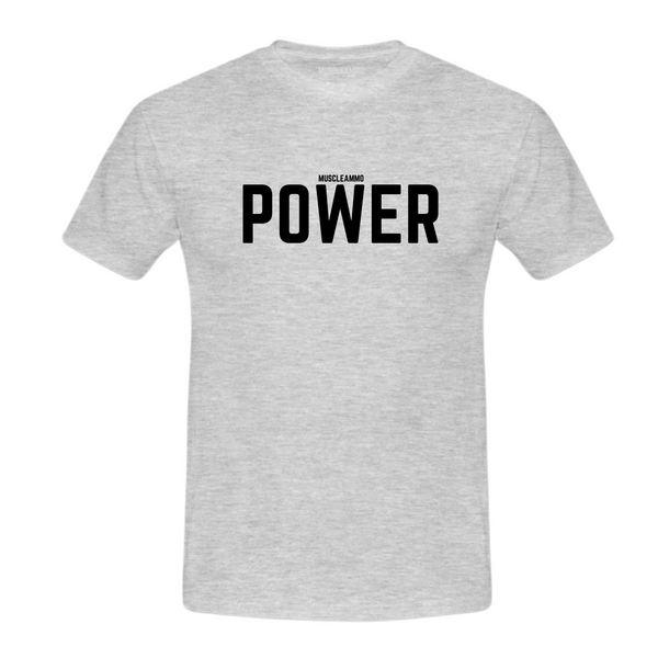 MuscleAmmo 'POWER' Print Muscle Fit T-Shirt - Grey - GymSupplements.co.uk