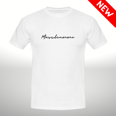 MuscleAmmo Print Muscle Fit T-Shirt - White - GymSupplements.co.uk