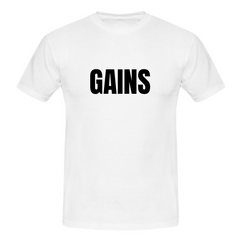 MuscleAmmo GAINS Print Muscle Fit T-Shirt - White - GymSupplements.co.uk