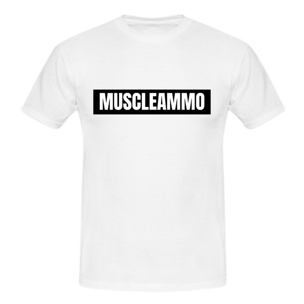 MuscleAmmo Muscle Fit T-Shirt - White - GymSupplements.co.uk