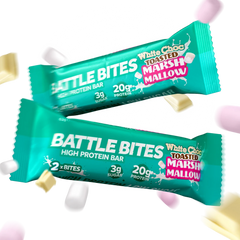 Battle Snacks Battle Bites 12x60g - White Chocolate Toasted Marshmallow - GymSupplements.co.uk