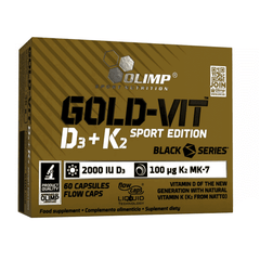 Olimp Gold-Vit D3+K2 2000 IU Sport Edition 60 Caps - Supplements-Direct.co.uk