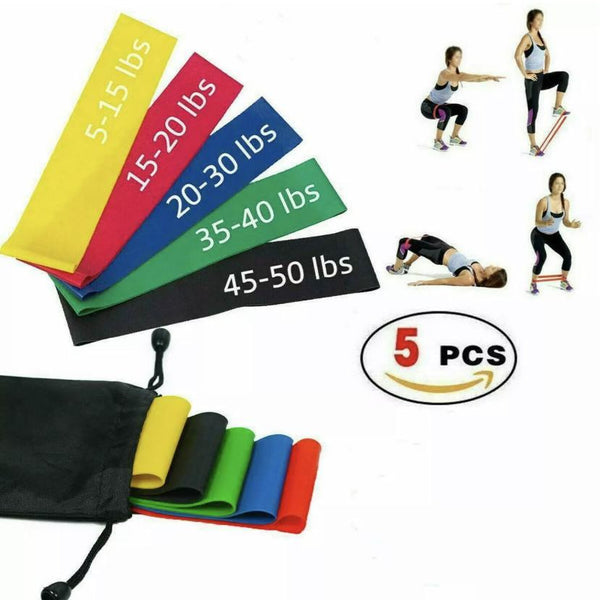 Set of 5 Resistance Loop Bands - Supplements-Direct.co.uk