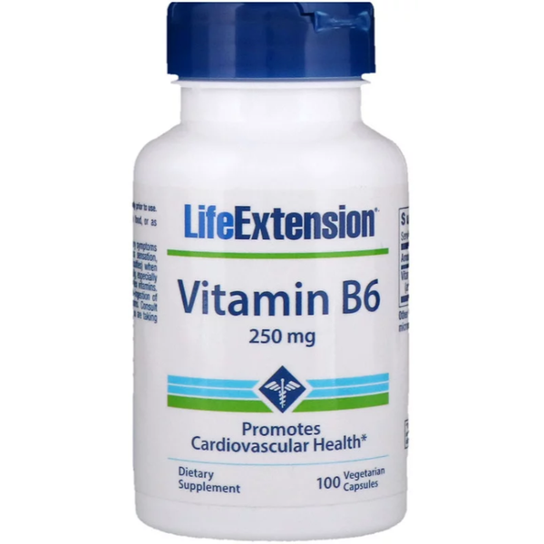 Life Extension, Vitamin B6, 250 mg, 100 Vegetarian Capsules - Supplements-Direct.co.uk