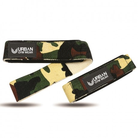 URBAN GYM WEAR PADDED LIFTING STRAPS - WOODLAND CAMO - Supplements-Direct.co.uk