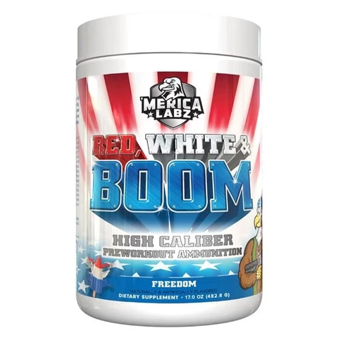 MERICA LABZ RED, WHITE & BOOM PRE WORKOUT 483G - GymSupplements.co.uk