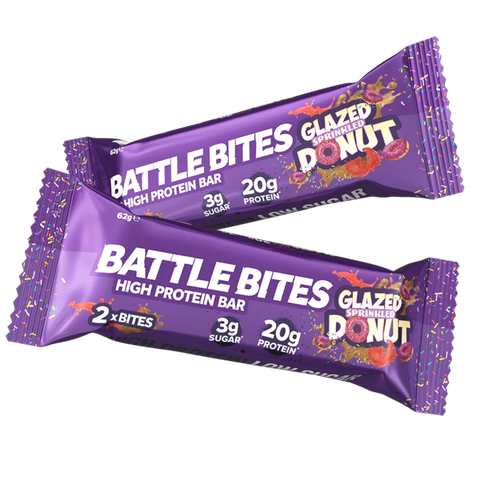 Battle Snacks Battle Bites 12x60g - NEW Glazed Sprinkled Donut - GymSupplements.co.uk