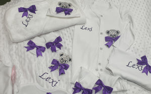 Personalised Teddy Sleepsuit/hat/mitts