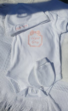 Load image into Gallery viewer, Customised Elsie embroidery Sleepsuit/hat/mitts/bib/vest/blanket Hospital / Layette Set