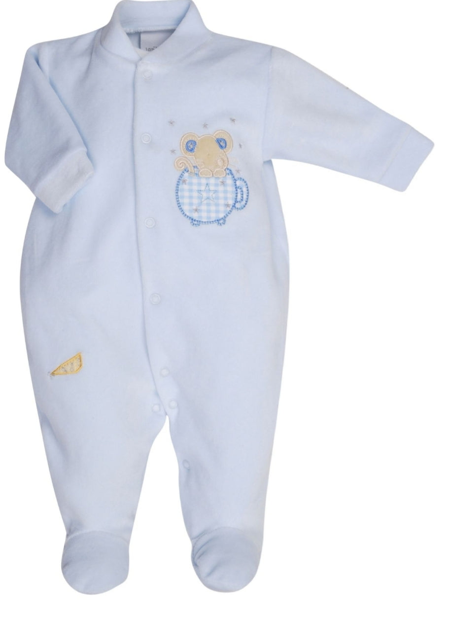 Dandelion Blue velvour sleepsuit mouse in a teacup