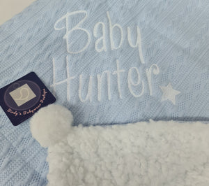Cable knit Pom Pom Blanket Baby Blue