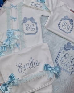Customised Elsieann embroided lace trim Sleepsuit/hat/mitts/bib/vest/blanket Hospital / Layette set
