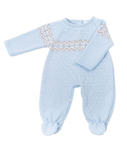 Fairisle Boys knitted onesie blue - Dandelion
