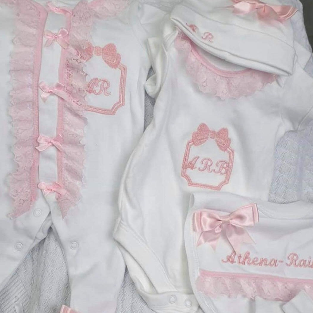 Customised Elsieann embroided lace trim Sleepsuit/hat/mitts/bib/vest/waffle