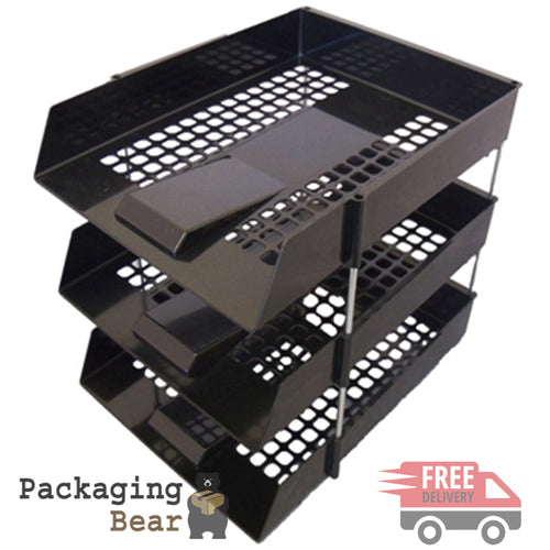 Black Office Filing Trays + Risers | Packagnigbear.co.uk