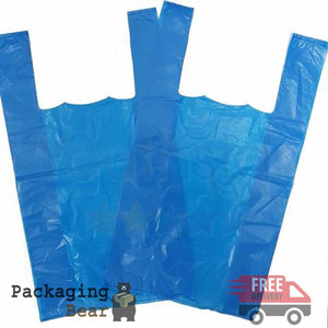 "Blue 11x17x21"" Plastic Vest Carrier Bag"