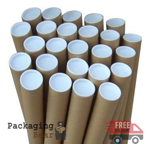 A2 Size Postal Mailing Tubes - 460mm x 45mm Diameter + End Caps | PackagingBear.co.uk