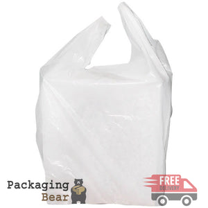 "White 10x15x18"" Plastic Vest Carrier Bag 