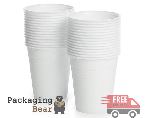 White Disposable Plastic Cups Glasses 7oz (190ml) | FREE Delivery on everything | Packagingbear.co.uk