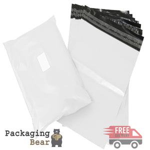 "White Postage Poly Mailing Bags 10"" x 14"" - 250x350mm 